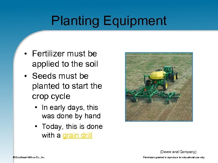 Planting Equipment • Fertilizer must be applied to the soil • Seeds must be