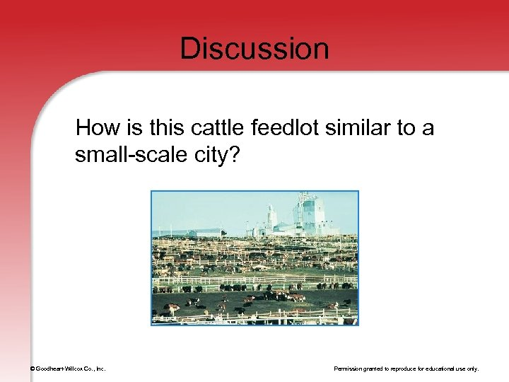 Discussion How is this cattle feedlot similar to a small-scale city? © Goodheart-Willcox Co.