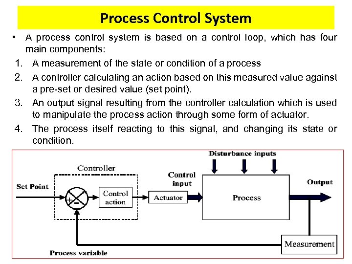 Process Control System • A process control system is based on a control loop,