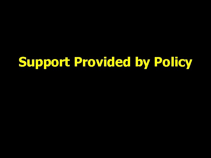 Support Provided by Policy