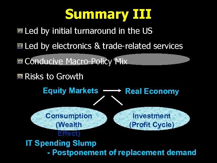Summary III Led by initial turnaround in the US Led by electronics & trade-related