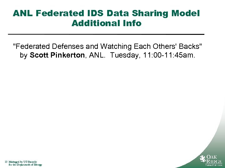 ANL Federated IDS Data Sharing Model Additional Info
