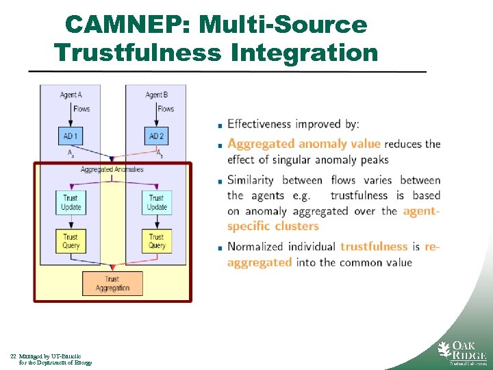 CAMNEP: Multi-Source Trustfulness Integration 22 Managed by UT-Battelle for the Department of Energy