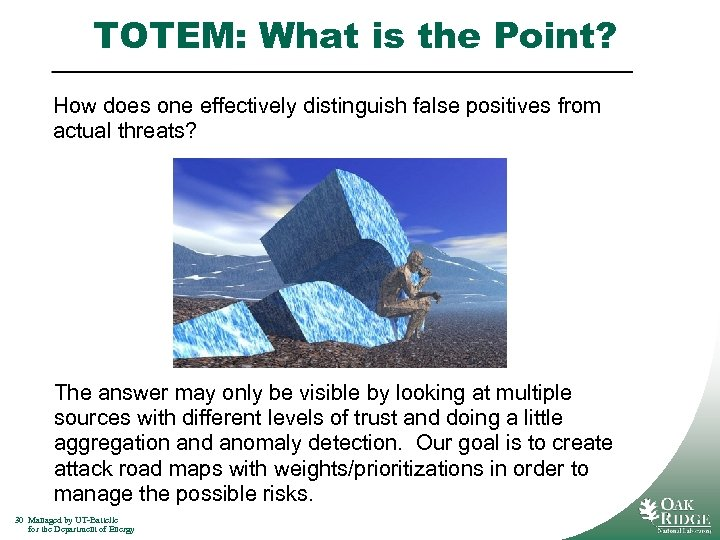 TOTEM: What is the Point? How does one effectively distinguish false positives from actual