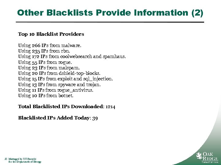 Other Blacklists Provide Information (2) Top 10 Blacklist Providers Using 266 IPs from malware.