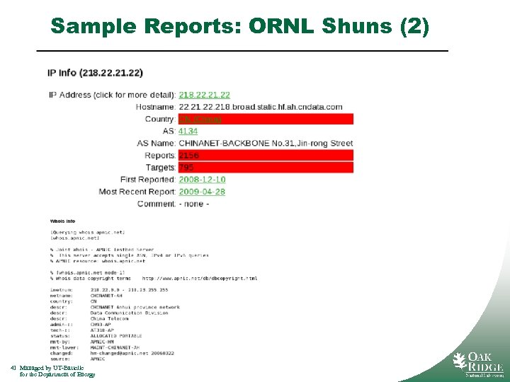 Sample Reports: ORNL Shuns (2) 41 Managed by UT-Battelle for the Department of Energy