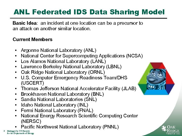 ANL Federated IDS Data Sharing Model Basic Idea: an incident at one location can