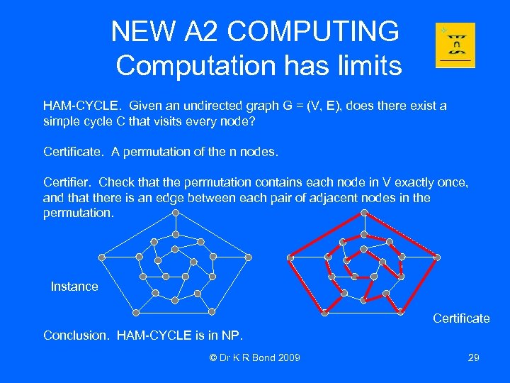 NEW A 2 COMPUTING Computation has limits HAM-CYCLE. Given an undirected graph G =
