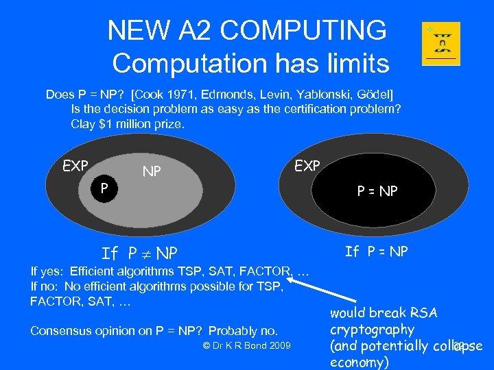 NEW A 2 COMPUTING Computation has limits Does P = NP? [Cook 1971, Edmonds,
