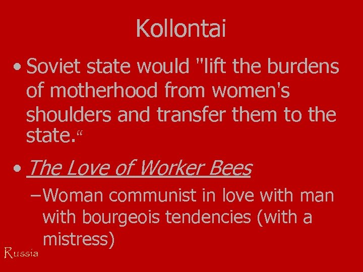Kollontai • Soviet state would