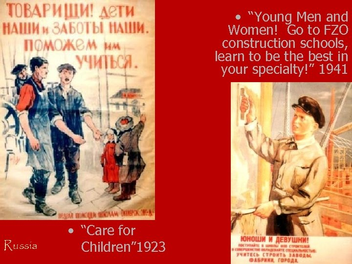 """• """"Young Men and Women! Go to FZO construction schools, learn to be"""