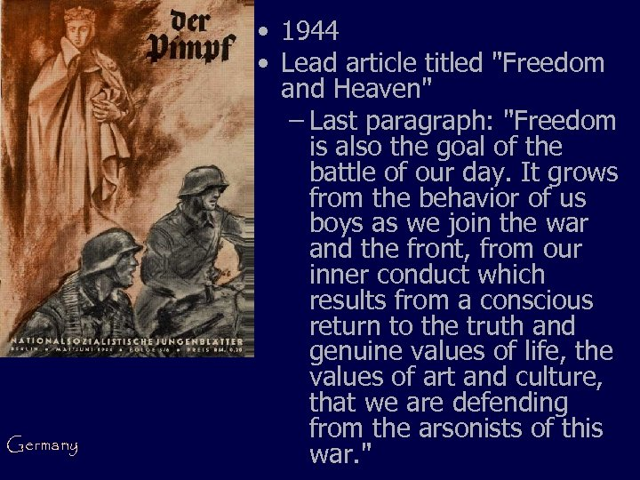 Germany • 1944 • Lead article titled