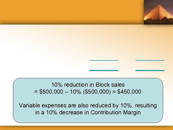 10% reduction in Block sales = $500, 000 – 10% ($500, 000) = $450,