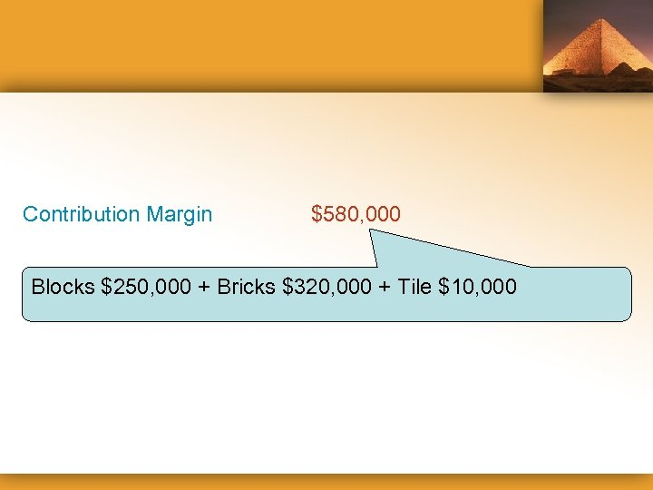 Contribution Margin $580, 000 Blocks $250, 000 + Bricks $320, 000 + Tile $10,