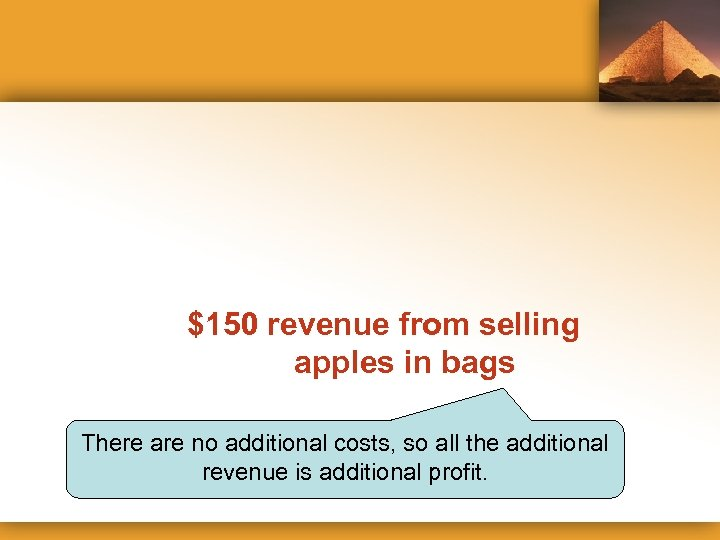 $150 revenue from selling apples in bags There are no additional costs, so all