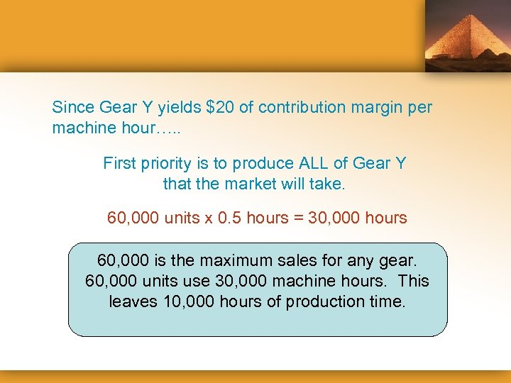 Since Gear Y yields $20 of contribution margin per machine hour…. . First priority
