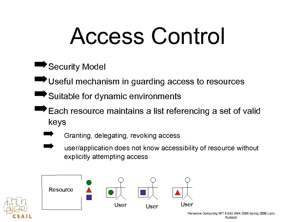 Access Control ➡ Security Model ➡ Useful mechanism in guarding access to resources ➡