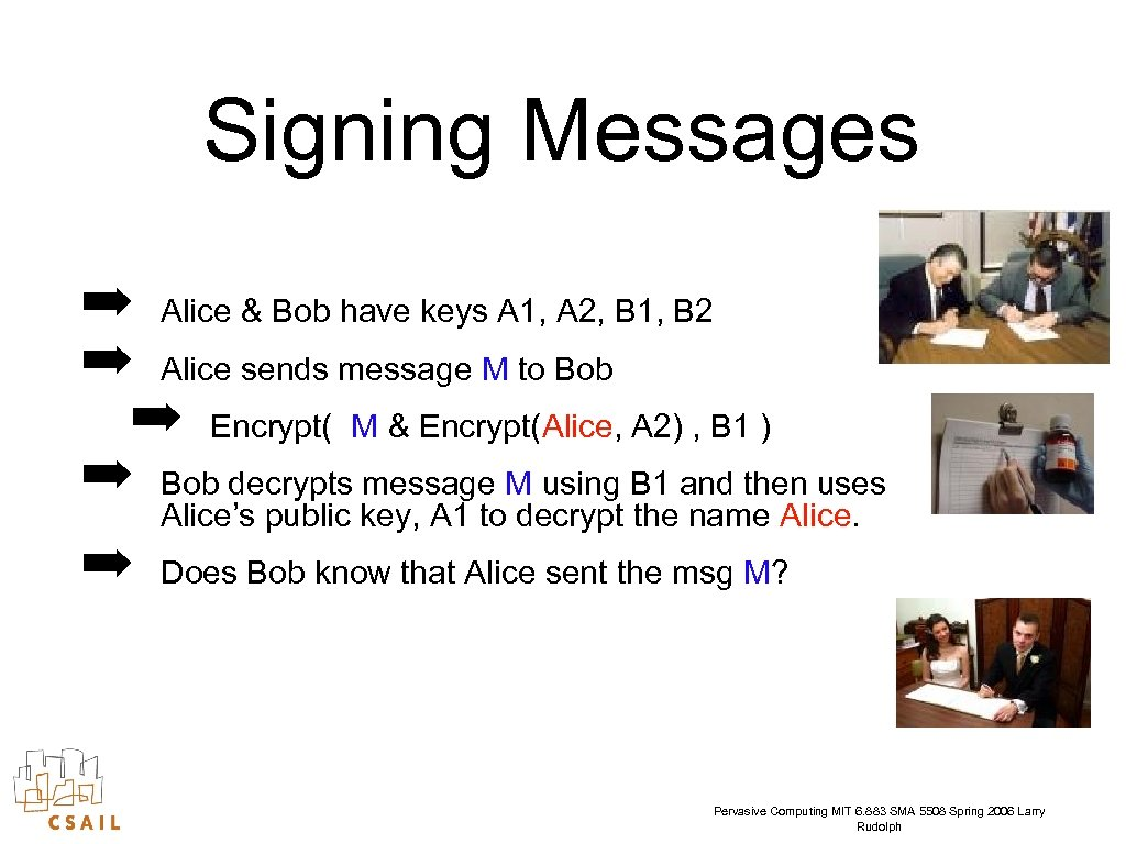 Signing Messages ➡ Alice & Bob have keys A 1, A 2, B 1,