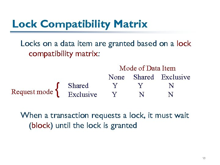 Lock Compatibility Matrix Locks on a data item are granted based on a lock