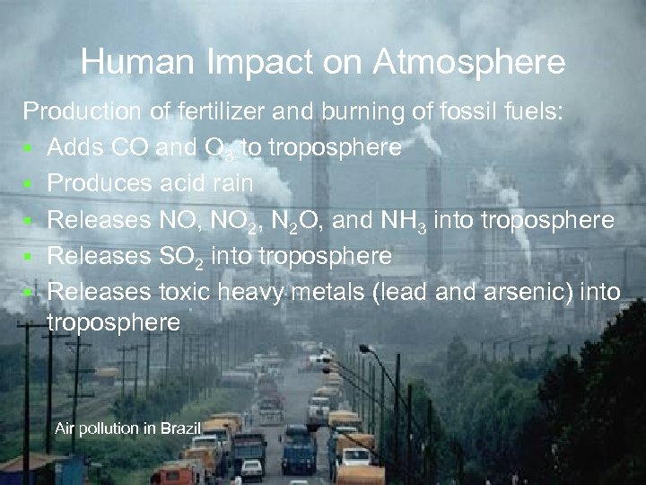 Human Impact on Atmosphere Production of fertilizer and burning of fossil fuels: § Adds