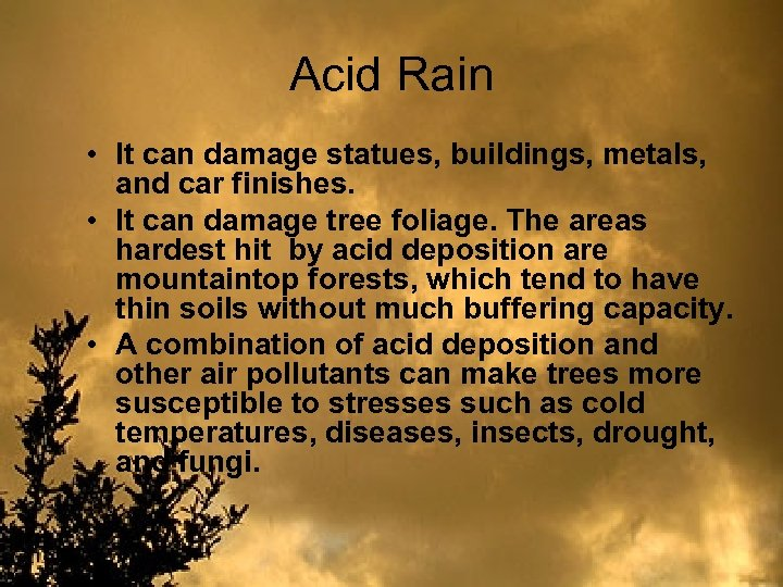 Acid Rain • It can damage statues, buildings, metals, and car finishes. • It