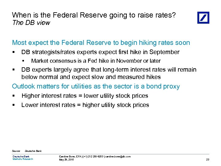 When is the Federal Reserve going to raise rates? The DB view Most expect