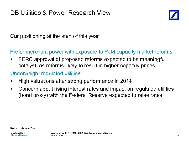 DB Utilities & Power Research View Our positioning at the start of this year