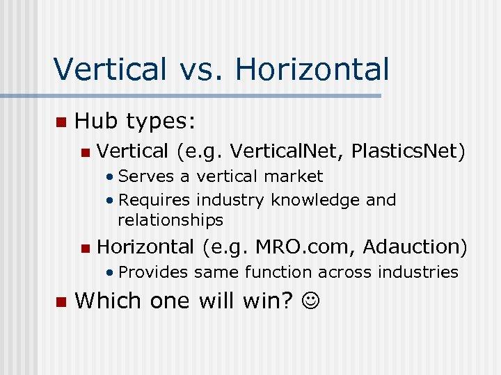 Vertical vs. Horizontal n Hub types: n Vertical (e. g. Vertical. Net, Plastics. Net)