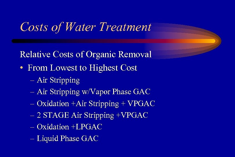 Costs of Water Treatment Relative Costs of Organic Removal • From Lowest to Highest