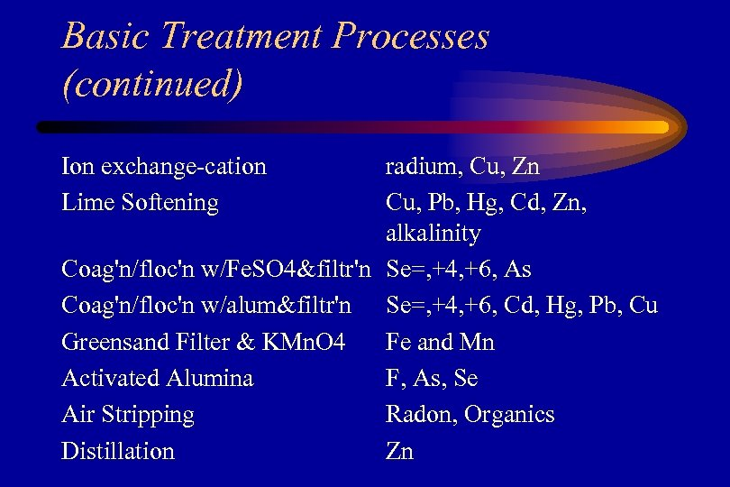 Basic Treatment Processes (continued) Ion exchange‑cation Lime Softening radium, Cu, Zn Cu, Pb, Hg,