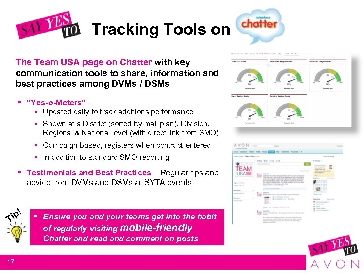 Tracking Tools on The Team USA page on Chatter with key communication tools to