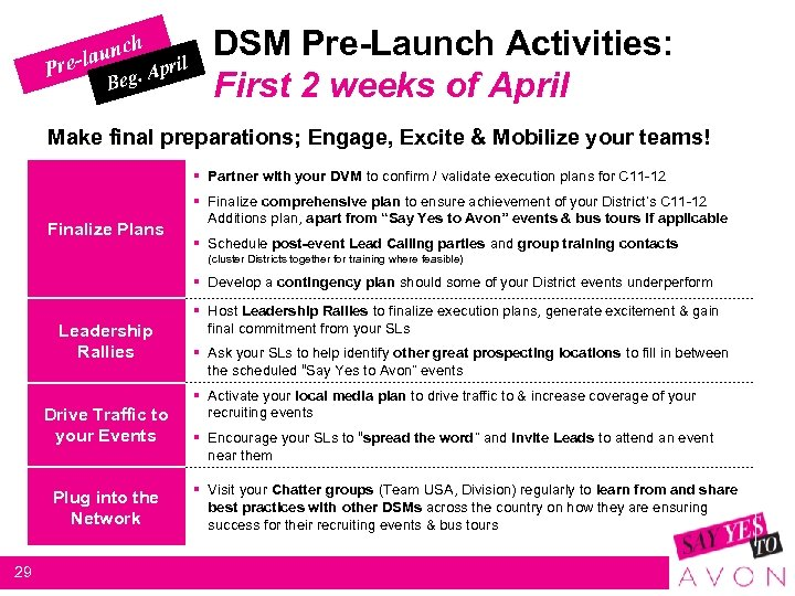 h c -laun re P A Beg. pril DSM Pre-Launch Activities: First 2 weeks