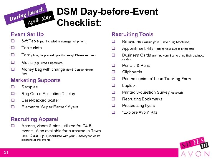 h aunc gl urin May D l- Apri DSM Day-before-Event Checklist: Event Set Up