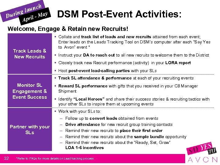 h aunc gl y urin D - Ma l Apri DSM Post-Event Activities: Welcome,