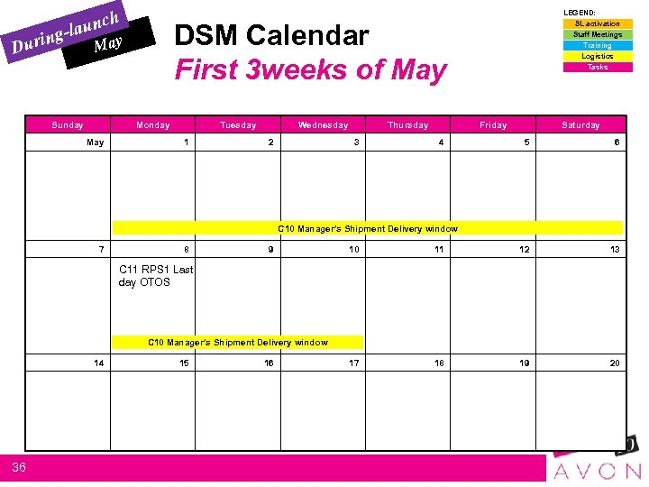 n Duri h aunc g-l DSM Calendar First 3 weeks of May Sunday Monday