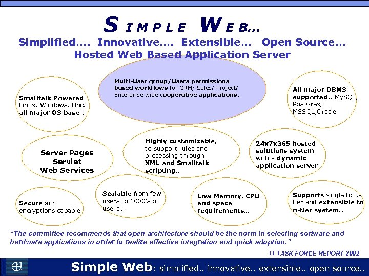 S IMPLE W E B… Simplified…. Innovative…. Extensible… Open Source… Hosted Web Based Application