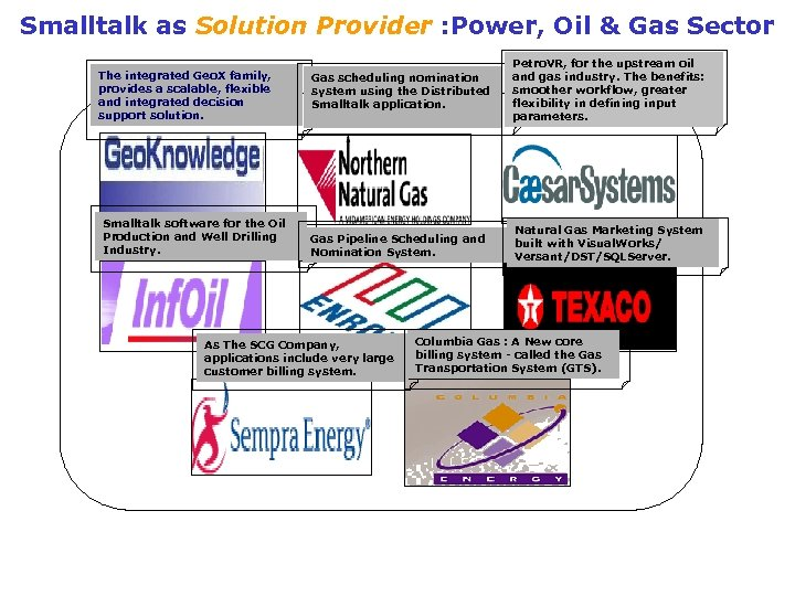 Smalltalk as Solution Provider : Power, Oil & Gas Sector The integrated Geo. X
