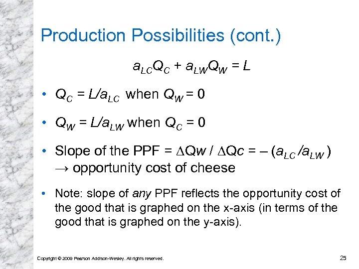 Production Possibilities (cont. ) a. LCQC + a. LWQW = L • QC =