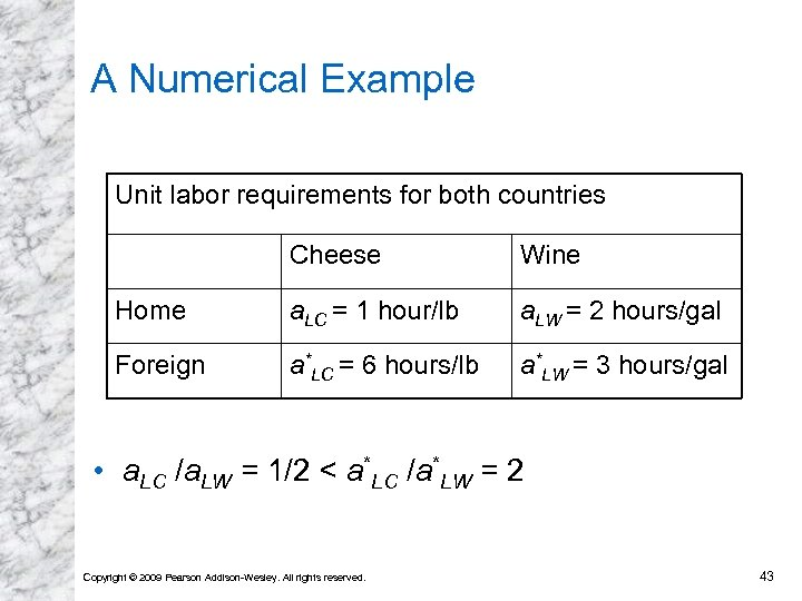 A Numerical Example Unit labor requirements for both countries Cheese Wine Home a. LC