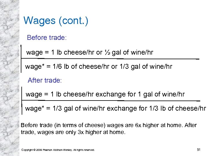 Wages (cont. ) Before trade: wage = 1 lb cheese/hr or ½ gal of