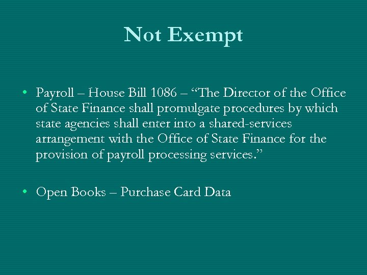 "Not Exempt • Payroll – House Bill 1086 – ""The Director of the Office"