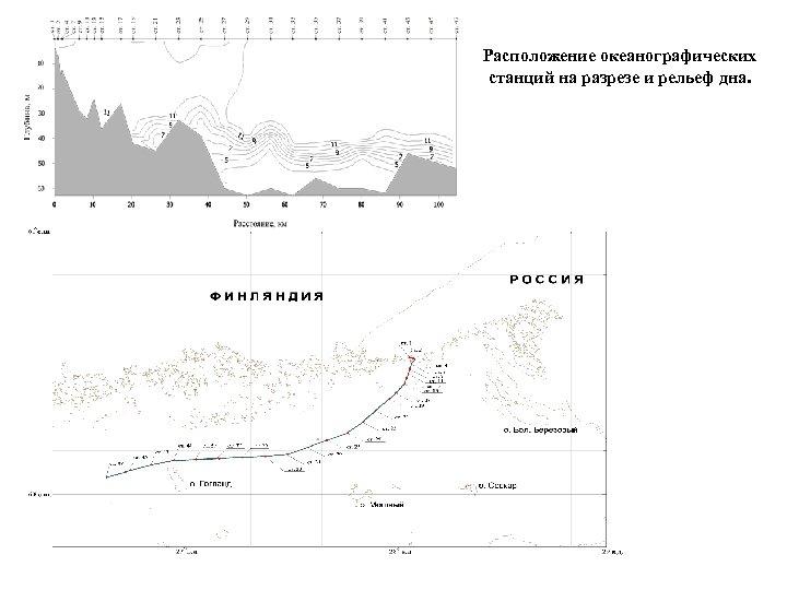 Расположение океанографических станций на разрезе и рельеф дна.