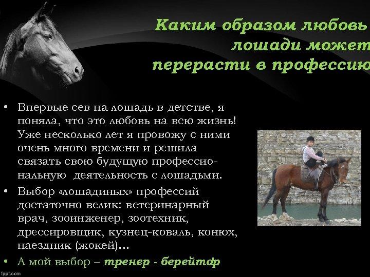 Каким образом любовь лошади может перерасти в профессию • Впервые сев на лошадь