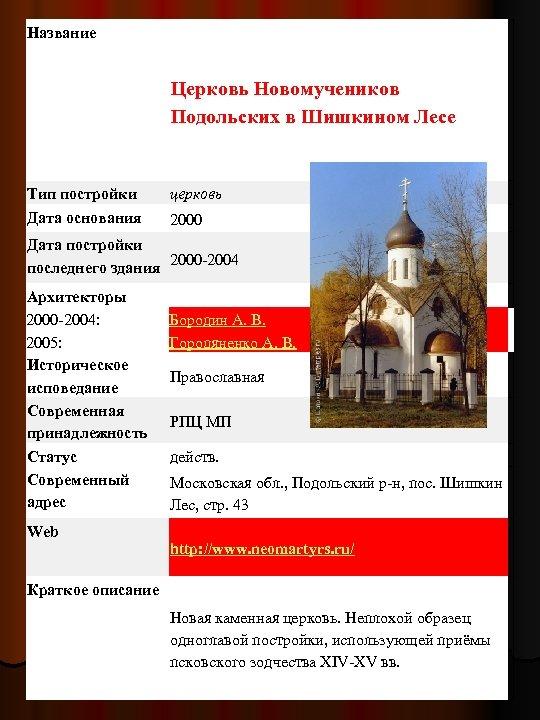 Название Церковь Новомучеников Подольских в Шишкином Лесе Тип постройки Дата основания церковь 2000 Дата