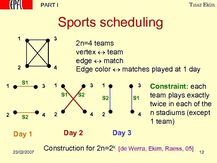 Tınaz Ekim PART I Sports scheduling 1 2 1 3 4 S 1 3
