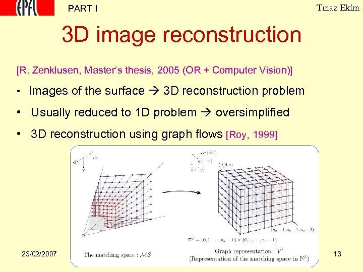 PART I Tınaz Ekim 3 D image reconstruction [R. Zenklusen, Master's thesis, 2005 (OR