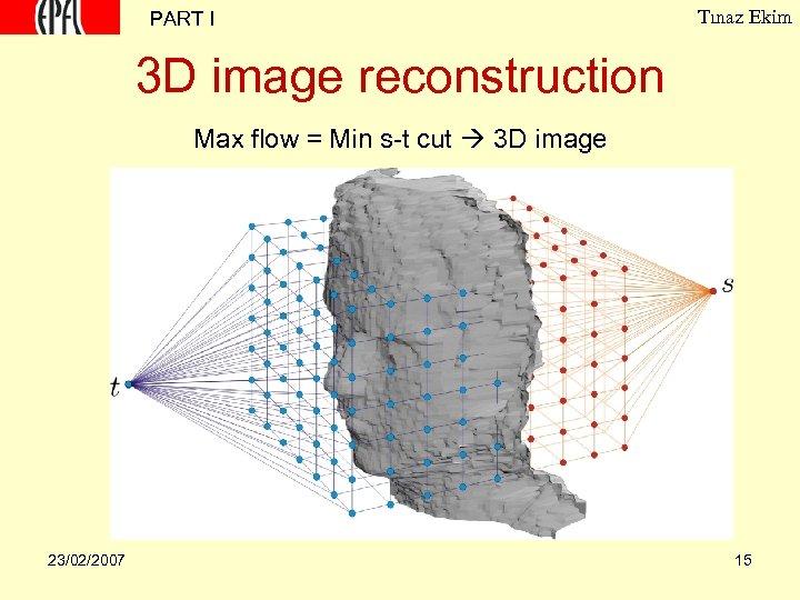 PART I Tınaz Ekim 3 D image reconstruction Max flow = Min s-t cut