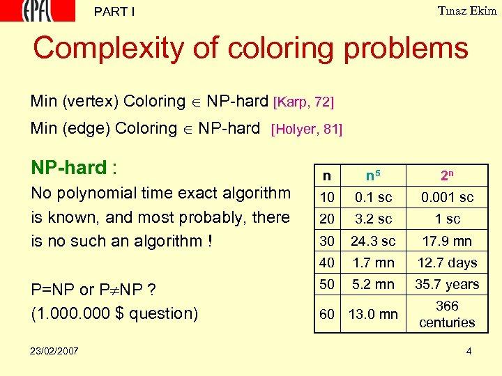 Tınaz Ekim PART I Complexity of coloring problems Min (vertex) Coloring NP-hard [Karp, 72]