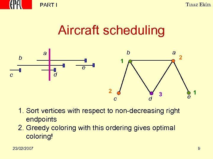 Tınaz Ekim PART I Aircraft scheduling b b a a 1 2 e d