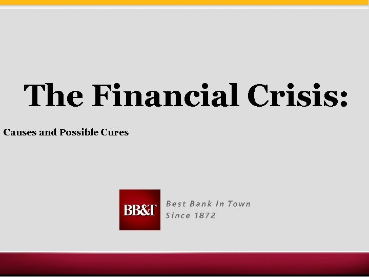 The Financial Crisis: Causes and Possible Cures
